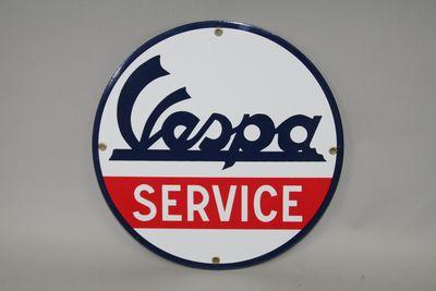 画像1: Vespa SERVICE 丸型プレート